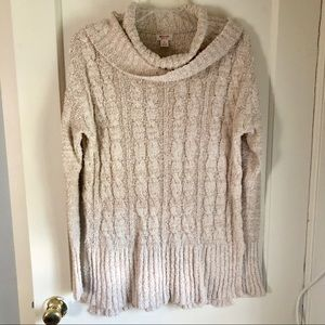 Sweaters - Cable Knit Cowl Neck Sweater